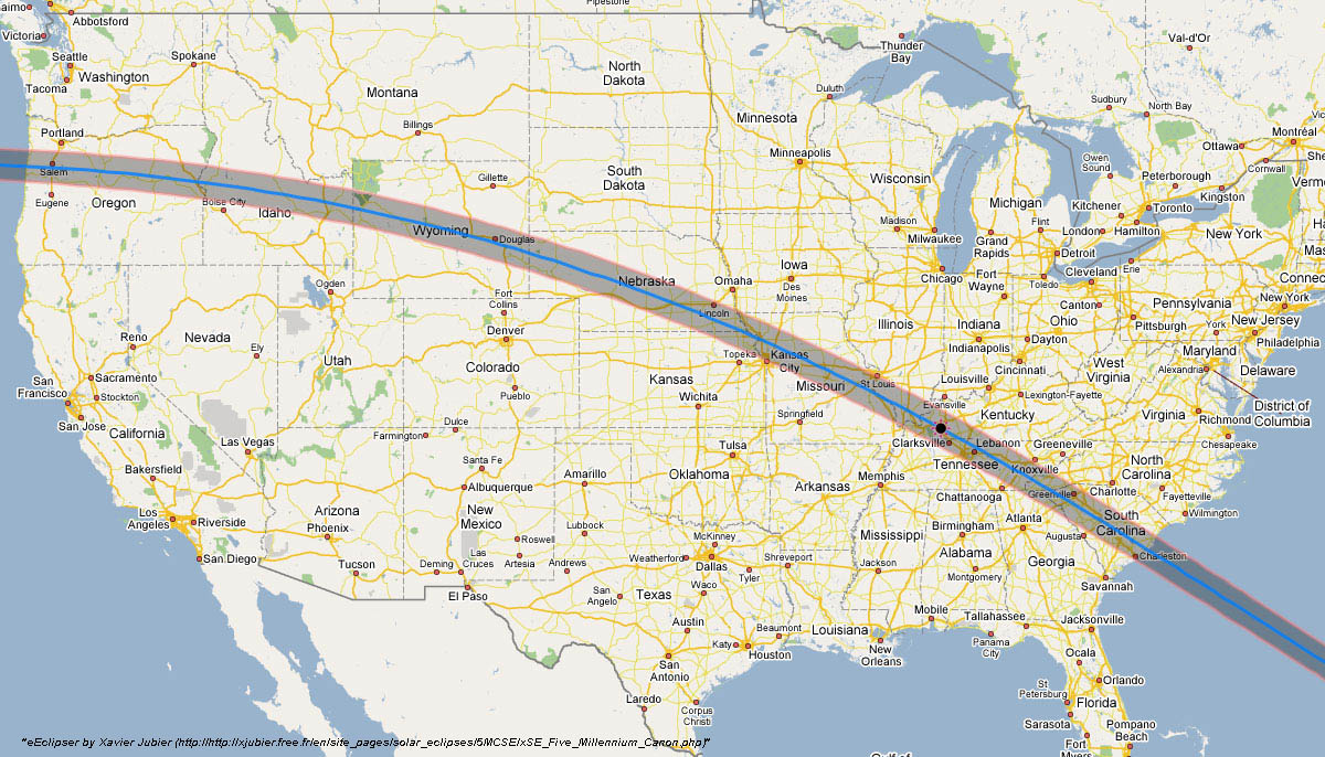 August 21, 2017, Path of Solar Eclipse Totality across the United States