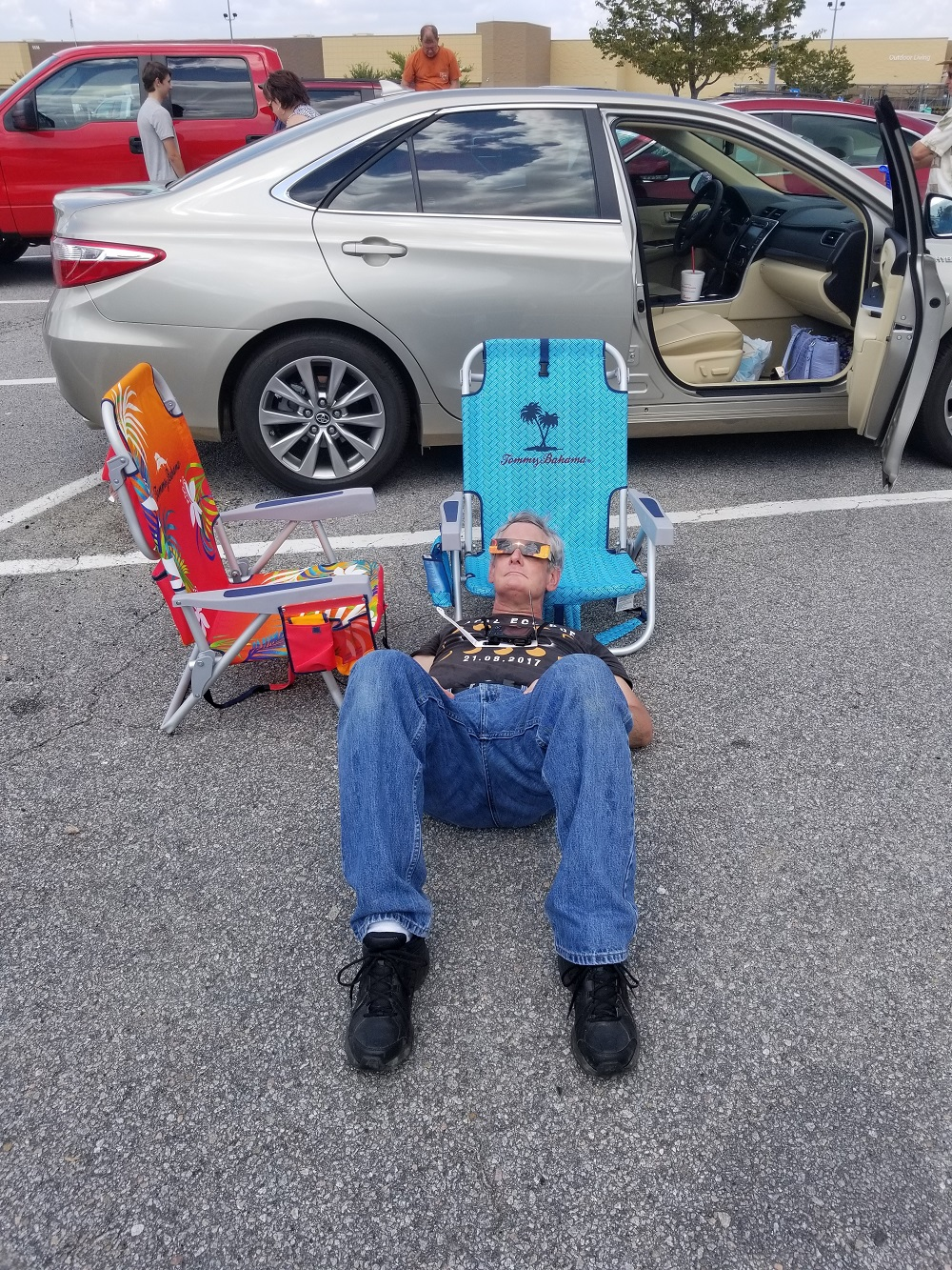 Ken Wright in Lexington SC Walmart Parking Lot Observing Solar Eclipse